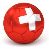 Le ballon de football avec le drapeau suisse 3D rendent Images libres de droits