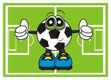 Le ballon de football montre le geste de la classe sur le terrain de football illustration stock