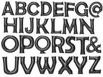 Le ballon noir d'aluminium d'alphabet a placé avec le chemin de coupure Photographie stock libre de droits