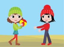 Le bambine giocano una sfera illustrazione vettoriale