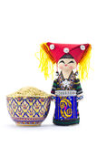 Le bambole del ricordo in vestiti della tribù della collina Fotografia Stock