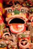 Le bambole di panno del cinese gioca il drago ed il leone Fotografia Stock Libera da Diritti