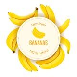 Le banane mature intorno al cerchio badge con naturale fresco dell'azienda agricola del testo illustrazione vettoriale