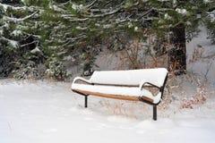 le banc a couvert la neige Images libres de droits