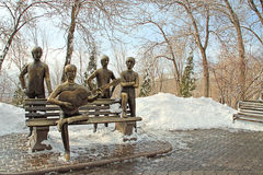 Le banc de Beatles sur la montagne de Kok Tobe près d'Almaty, Kazakhstan Photographie stock