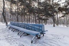 Le banc en parc en hiver Images libres de droits