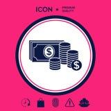 Le banconote dei soldi impilano e pila di icona delle monete con il simbolo del dollaro Fotografia Stock