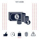 Le banconote dei soldi impilano e pila di icona delle monete con il simbolo del dollaro Immagine Stock Libera da Diritti