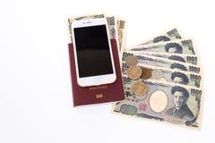 le banconote giapponesi di Yen di valuta con Yen giapponesi coniano e calc Fotografia Stock Libera da Diritti