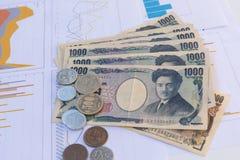 Le banconote giapponesi di Yen di valuta con Yen giapponesi coniano su bianco Immagine Stock