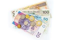 Le banconote polacche di zloty, i soldi, valuta della Polonia hanno isolato su wh fotografia stock libera da diritti