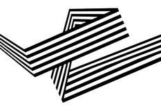 Le bande in bianco e nero astratte hanno piegato la forma geometrica del nastro Fotografia Stock Libera da Diritti