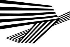 Le bande in bianco e nero astratte hanno piegato la forma geometrica del nastro Immagini Stock