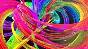 Le bande variopinte dell'arcobaleno torcono in una formazione circolare, movimento in un cerchio Il fondo creativo senza cuciture illustrazione di stock