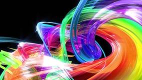 Le bande variopinte dell'arcobaleno torcono in una formazione circolare, movimento in un cerchio Il fondo creativo senza cuciture illustrazione vettoriale