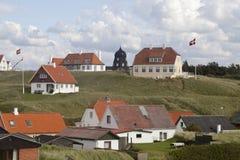 Le bandiere danesi volano Immagini Stock