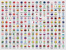 Le bandiere del mondo Raccolta-hanno arrotondato le bandiere immagini stock libere da diritti