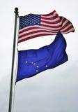 Le bandiere dell'Alaska e degli Stati Uniti immagine stock libera da diritti