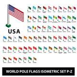 Le bandiere della raccolta Palo dei paesi del mondo inbandiera l'insieme isometrico P-Z illustrazione di stock