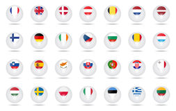 Le bandiere della sfera hanno messo l'UE Fotografia Stock