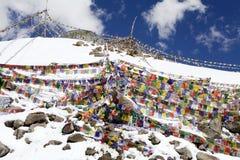 Le bandiere di preghiera al Khardung passano, Ladakh, India Fotografia Stock Libera da Diritti