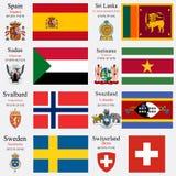 Le bandiere ed i capitali del mondo hanno messo 23 Fotografia Stock Libera da Diritti