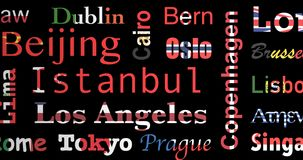 Le bandiere hanno colorato il modello dei nomi delle città, ciclo royalty illustrazione gratis