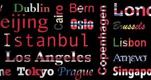 Le bandiere hanno colorato il modello dei nomi delle città, ciclo, alfa illustrazione di stock