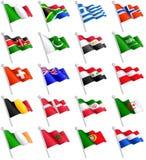 le bandiere internazionali 3D hanno messo 2 Immagine Stock