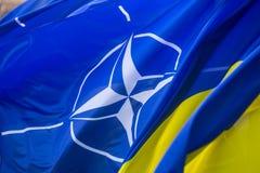 Le bandiere nazionali dell'Ucraina e della NATO Fotografia Stock