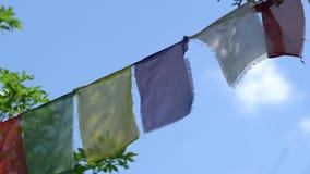 Le bandiere prayful tibetane di colore di Lungta fluttuano su vento video d archivio