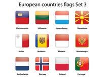 Le bandierine di paesi di ButEuropean hanno impostato 3 illustrazione vettoriale