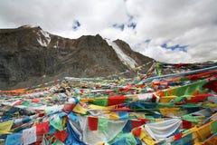 Le bandierine di preghiera montano il gruppo Rinpoche (Kailash) Fotografie Stock Libere da Diritti