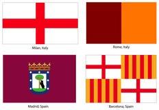 Le bandierine europee della città hanno impostato Immagine Stock Libera da Diritti