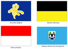 Le bandierine europee della città hanno impostato Fotografia Stock Libera da Diritti