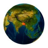 Le Bangladesh a accentué sur le globe Photo libre de droits