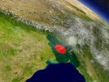 Le Bangladesh avec le drapeau incorporé sur terre Photo libre de droits