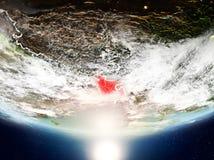 Le Bangladesh avec le soleil sur terre de planète illustration libre de droits