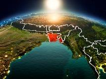 Le Bangladesh dans le lever de soleil de l'orbite Photos libres de droits