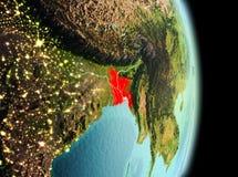 Le Bangladesh dans le matin de l'orbite Photo stock