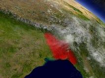 Le Bangladesh de l'espace accentué en rouge Images libres de droits