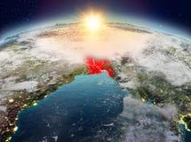 Le Bangladesh de l'espace dans le lever de soleil Photo stock