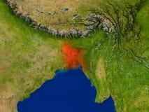 Le Bangladesh de l'espace en rouge Image libre de droits