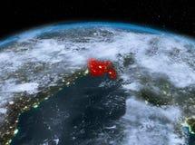 Le Bangladesh de l'espace la nuit Photos stock