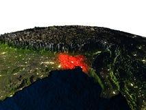 Le Bangladesh de l'espace la nuit Photographie stock libre de droits