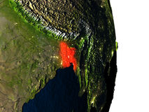 Le Bangladesh de l'espace pendant le crépuscule Image libre de droits
