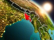 Le Bangladesh de l'espace pendant le lever de soleil Photo libre de droits