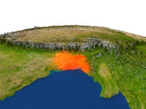 Le Bangladesh en rouge d'orbite Photographie stock