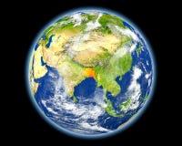 Le Bangladesh en rouge de l'espace Photographie stock