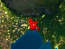 Le Bangladesh en rouge la nuit Images stock
